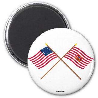 Crossed Betsy Ross and Sheldon's Horse Flags Fridge Magnets