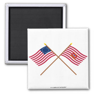 Crossed Betsy Ross and Sheldon's Horse Flags Refrigerator Magnets