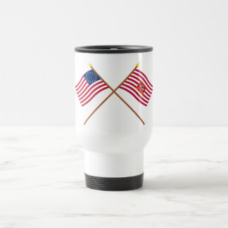 Crossed Betsy Ross and Sheldon's Horse Flags Coffee Mugs