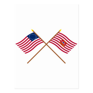 Crossed Betsy Ross and Sheldon's Horse Flags Postcard