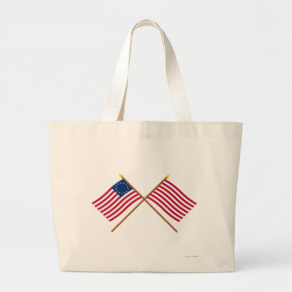 Crossed Betsy Ross and Sons of Liberty Flags Large Tote Bag