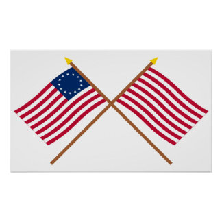 Crossed Betsy Ross and Sons of Liberty Flags Print