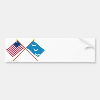 Crossed Betsy Ross and South Carolina Militia Flag Bumper Sticker