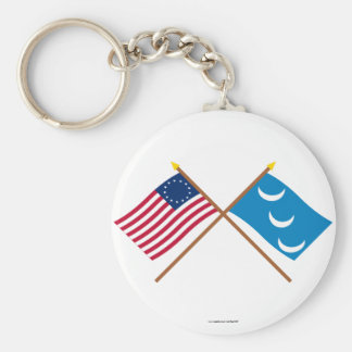 Crossed Betsy Ross and South Carolina Militia Flag Keychain
