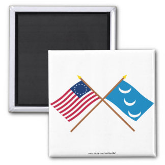 Crossed Betsy Ross and South Carolina Militia Flag Fridge Magnets