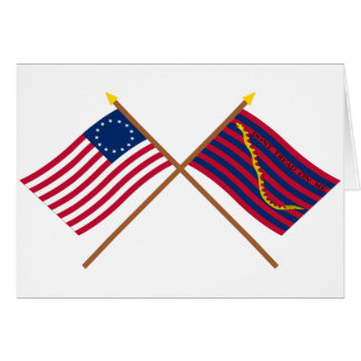 Crossed Betsy Ross and South Carolina Navy Flags Card