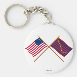 Crossed Betsy Ross and South Carolina Navy Flags Keychains