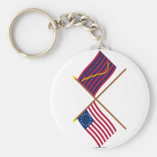 Crossed Betsy Ross and South Carolina Navy Flags Key Chains