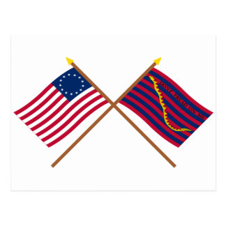 Crossed Betsy Ross and South Carolina Navy Flags Postcard