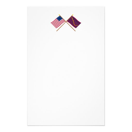 Crossed Betsy Ross and South Carolina Navy Flags Customized Stationery