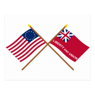 Crossed Betsy Ross and Taunton Flags Postcard