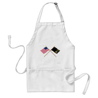 Crossed Betsy Ross and Veterans Exempt Flags Adult Apron