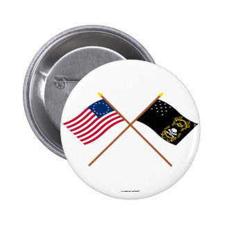 Crossed Betsy Ross and Veterans Exempt Flags 2 Inch Round Button