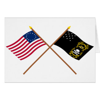 Crossed Betsy Ross and Veterans Exempt Flags Cards