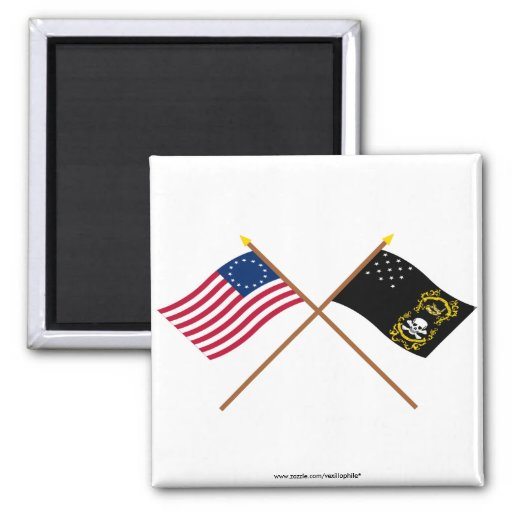 Crossed Betsy Ross and Veterans Exempt Flags Fridge Magnets