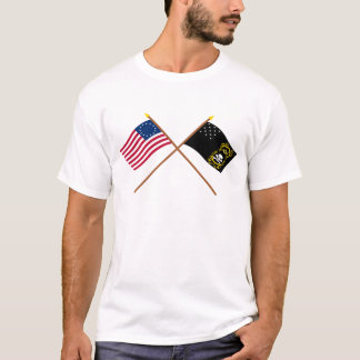 Crossed Betsy Ross and Veterans Exempt Flags T-Shirt