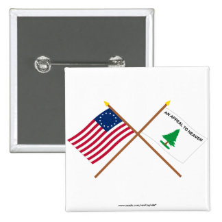 Crossed Betsy Ross and Washington's Cruisers Flags 2 Inch Square Button