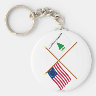 Crossed Betsy Ross and Washington's Cruisers Flags Keychain
