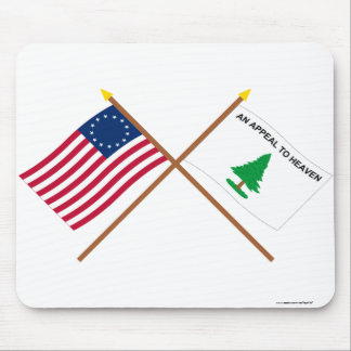 Crossed Betsy Ross and Washington's Cruisers Flags Mouse Pad
