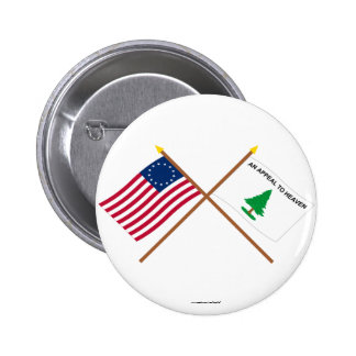 Crossed Betsy Ross and Washington's Cruisers Flags Pinback Button