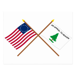 Crossed Betsy Ross and Washington's Cruisers Flags Postcard