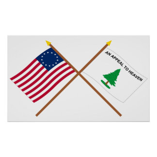 Crossed Betsy Ross and Washington's Cruisers Flags Print
