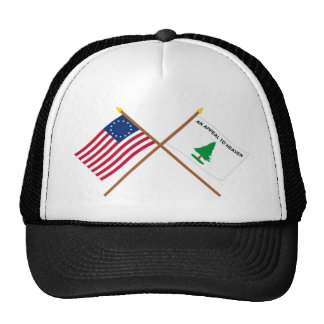 Crossed Betsy Ross and Washington's Cruisers Flags Trucker Hat