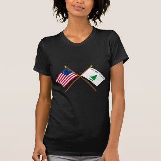 Crossed Betsy Ross and Washington's Cruisers Flags T Shirt