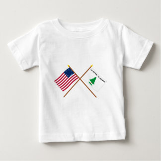 Crossed Betsy Ross and Washington's Cruisers Flags Tshirts