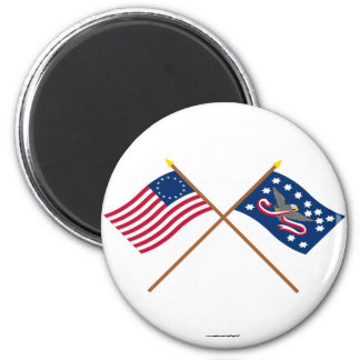 Crossed Betsy Ross and Whiskey Rebellion Flags 2 Inch Round Magnet