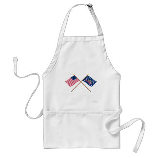 Crossed Betsy Ross and Whiskey Rebellion Flags Adult Apron