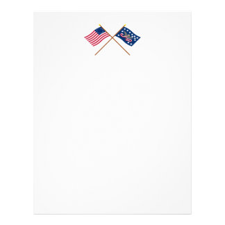 Crossed Betsy Ross and Whiskey Rebellion Flags Letterhead