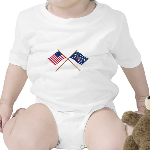 Crossed Betsy Ross and Whiskey Rebellion Flags Baby Creeper