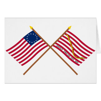 Crossed Betsy Ross Flag and First Navy Jack Greeting Card