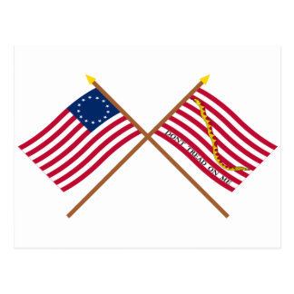 Crossed Betsy Ross Flag and First Navy Jack Postcard