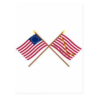 Crossed Betsy Ross Flag and First Navy Jack Postcards