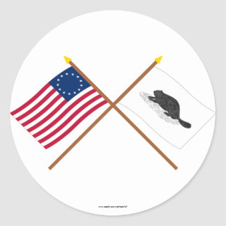 Crossed Betsy Ross Flag and New York Ensign Classic Round Sticker