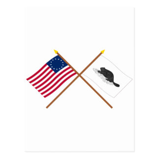 Crossed Betsy Ross Flag and New York Ensign Postcard