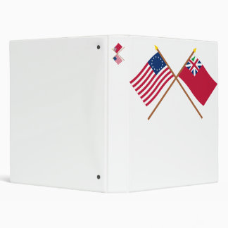 Crossed Betsy Ross Flag and Pine Tree Red Ensign 3 Ring Binder