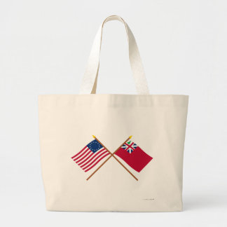 Crossed Betsy Ross Flag and Pine Tree Red Ensign Large Tote Bag