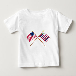 Crossed Betsy Ross Flag & New England Navy Ensign Baby T-Shirt