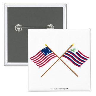Crossed Betsy Ross Flag & New England Navy Ensign 2 Inch Square Button