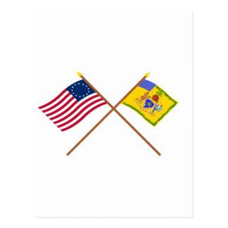 Crossed Betsy Ross Flag & Phila Light Horse Colour Postcard