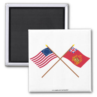 Crossed Betsy Ross & Proctor's Batallion Flags 2 Inch Square Magnet