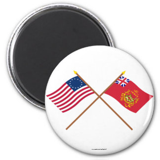 Crossed Betsy Ross & Proctor's Batallion Flags 2 Inch Round Magnet
