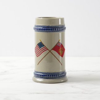 Crossed Betsy Ross & Proctor's Batallion Flags Coffee Mugs