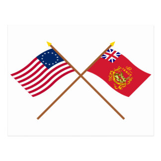 Crossed Betsy Ross & Proctor's Batallion Flags Postcard