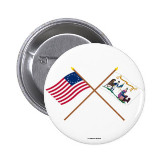 Crossed Betsy Ross & Washington's Lifeguard Flags 2 Inch Round Button
