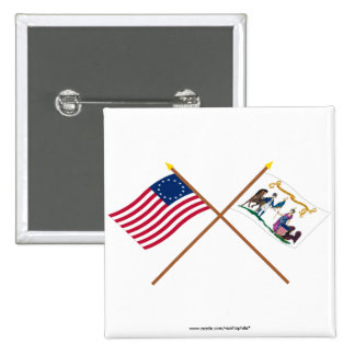 Crossed Betsy Ross & Washington's Lifeguard Flags 2 Inch Square Button