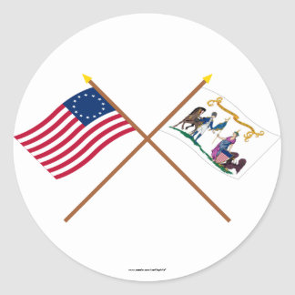 Crossed Betsy Ross & Washington's Lifeguard Flags Classic Round Sticker